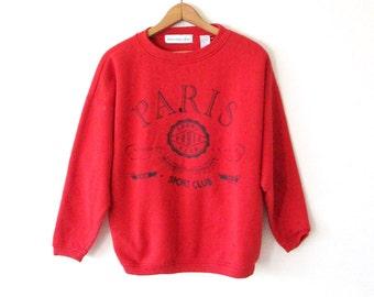 Vintage 1990s PARIS SPORT CLUB Red Distressed Beat Up Sweatshirt Sz M