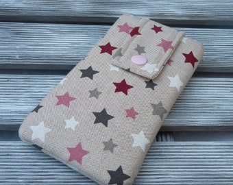 Iphone 8 pouch, stars, iPhone 7 sleeve, iPhone 7 case, iPhone 6s cover, Padded iphone 8 case,  iphone 7 Pouch , Linen phone pouch