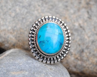 SOLD Turquoise ring, big  round ring, Native american turquoise ring, boho ring, vintage ring, turquoise jewelry, ethnic ring