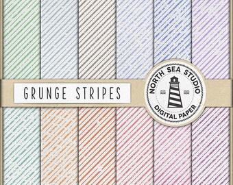 Grunge Stripes Digital Paper Pack   Scrapbook Paper   Printable Backgrounds   12 JPG, 300dpi Files   BUY5FOR8