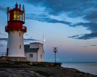Photo print on Canvas - Summer sunset at Lindesnes lighthouse in Norway.