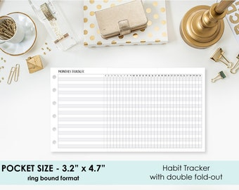 Pocket Monthly Habit Tracker - Fitness Goals - Pocket with Fold-Out - Weekly Habits - Goal Tracker - 31 days - Monthly calendar - Printed