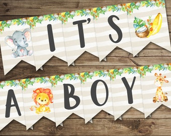 Banner It's a BOY Baby Shower Banner, Printable Baby Shower Banner, Jungle Baby Shower Decoration, Safari Baby Shower Decor Elephant Lion