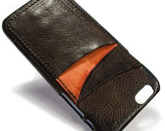 """iPhone 6S display 4.7"""" Italian Leather Case with 3 credit cards holder vertical SLOTs choose the color of BODY and ACCENT"""