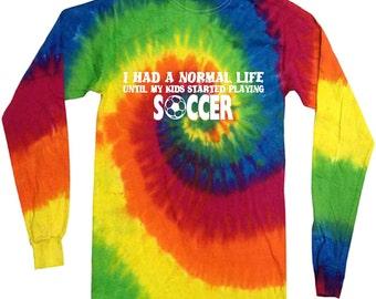 tie dye Soccer mom dad funny long sleeve shirt tie dye shirt