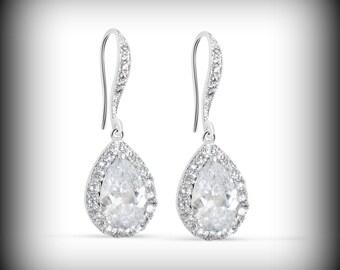 Crystal Bridal Earrings, Wedding Earrings, Rose Gold Bridal Earrings, Bridal Jewelry, Oval Bridal Earrings