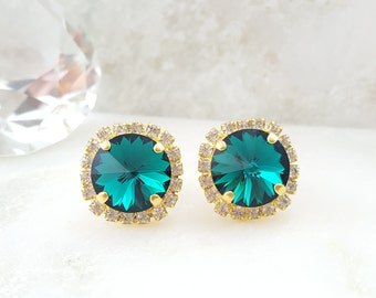 Green Crystal Earrings - Emerald Earrings - Green Rhinestone Earrings - May Birthstone Jewelry - Dark Green Earrings - Swarovski Studs E3340