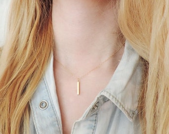 Dainty Small Gold Bar Necklace, Bridesmaid Necklace, Dainty Necklace, Small Necklace, Bridesmaid Gift, Gold Bar Necklace