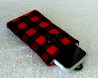 """Buffalo Plaid IPhone Case, Cell Phone Case, Cell Phone Cover, IPhone Cover, IPhone 6 Case, IPhone 7 Case, Cell Phone Sleeve, 6 1/2"""" x 3 1/2"""""""