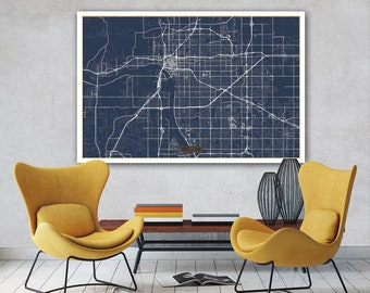 Tulsa street map etsy tulsa canvas map large 60x40 stretched canvas map tulsa oklahoma city map print malvernweather Gallery