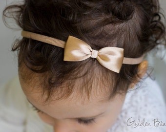Mocha Baby Bows - Mocha Flower Girl Headband - Small Satin Mocha Bow Handmade Headband - Newborn to Adult Headband