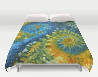 Duvet Cover-Comforter Cover-Tie Dye Bedding-Green Yellow Blue-Blanket Cover-King Queen Full Twin