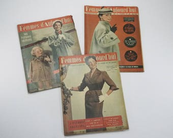 Original french Knitting Patterns 1954's Women Fashion Magazine with set of 6 Sewing Patterns, Embroidery, Crochet, women of today