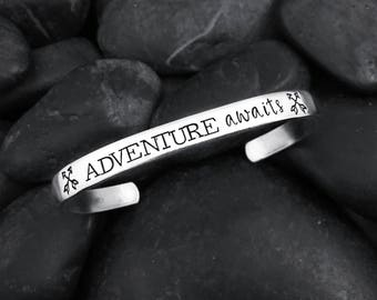 Adventure Awaits Hand Stamped Cuff Bracelet - Inspirational Gift - New Mom - Graduation - Motivational - Wanderlust - Arrows