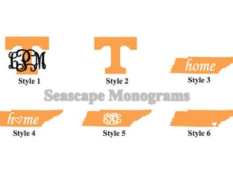 Tennessee Vols Monogram - Power T Decal - Home State - State with Heart - Personalized Vinyl Decal