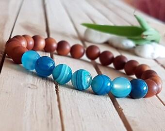8mm Blue agate bracelet,Sandalwood Bracelet, Blue stone bracelet, Sandalwood Beads, Sandalwood Mala, gift for her, valentine gift B466