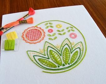Sweetsong hand embroidery pattern, modern embroidery, crewel, Jacobean, embroidery patterns, embroidery PDF, PDF pattern