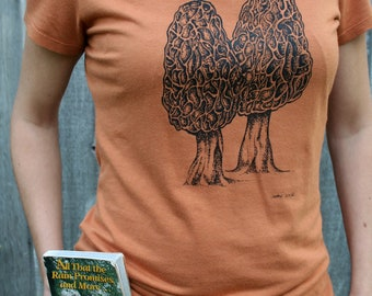 Tee Shirt Women's Morel Mushroom Nature Screen Print Rust Bamboo Organic Cotton