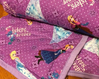 Frozen Elsa & Anna Quilted Baby or Toddler Blanket or Youth Throw