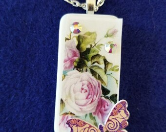 lavender rose with lavender butterfly