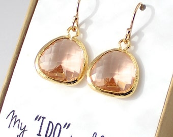 Peach Champagne / Gold Rounded Earrings - Champagne Drop Earrings - Bridesmaid Gift Jewelry -Peach and Gold Earrings- EB2