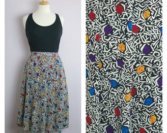 Vintage 1980's Graphic Rose Print Pleated Midi Skirt L/XL