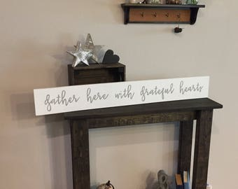 """Pallet Rustic Gather here with grateful hearts Sign - 5.5""""x42"""" - Living Room Entry way Blessed Love Family Decor Farmhouse (Item - LHS100)"""