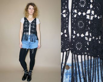 Vintage women's black crochetted flower patterned bohemian hippie top vest