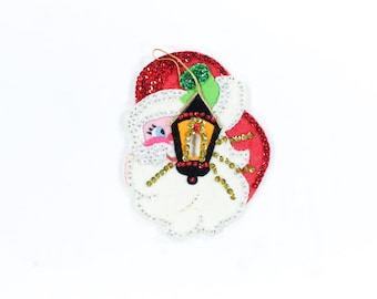 Santa Sequin Light Switch Cover -Vintage Jolly old Elf Handmade Felt Novelty - Red, Green, Gold - Beaded Santa Switch Plate Cover