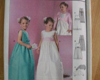 burda 9757 Child/Girl's (Sizes 2,3,4,5,6,7,8) Flared long dress/gown with bolero/jacket