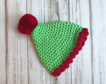 Elf Hat, Sizes Newborn to 6 months, Crochet elf hat, winter hat, photography prop, holiday hat, baby shower gift, newborn hat, toddler hat