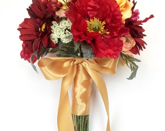 Quick Ship - Red and Yellow Gerbera Daisy, Rose, and Poppy Bouquet