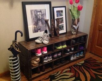Foyer Bench Shoes : Bench entryway coat rack mudroom shoe window foyer wooden