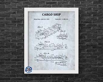 Old ship blueprint canvas art nautical map boys office cargo ship patent print 1970 cargo ship patent poster cargo ship blueprint art malvernweather Image collections