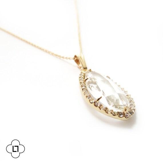 Pave Framed Glass Pendant Necklace