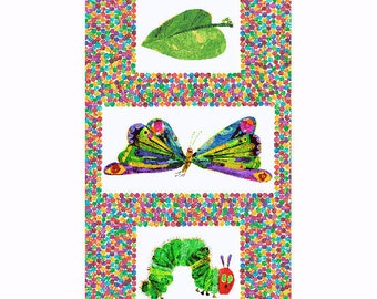 """The Very Hungry Caterpillar Transformation 23.5""""x44"""" PANEL from Andover Fabrics by Eric Carle"""