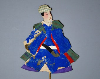 1800's Antique Oshie Japanese Silk Kimono Doll Scholar clutching a pipe Oshi-e Okiage Ningyo 14