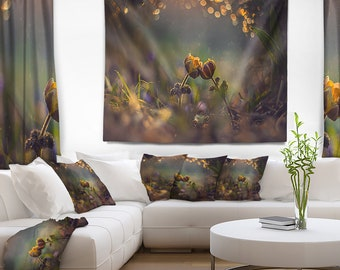 Designart Two Spring Flowers Floral Wall Tapestry, Wall Art Fit for Wall Hanging, Dorm, Home Decor