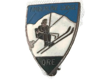 Timberline Lodge Ski Pin Vintage Sterling Silver Mt Hood Oregon Enamel on Sterling Silver Blue and White Ski Pin C Clasp