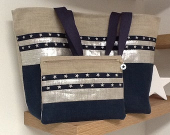 Navy Linen Tote Bag, Iridescent Linen, Stars with Pouch / Navy and Silver Linen Tote, Stars, Inside Pocket and Matching Pouch / Mother's Day