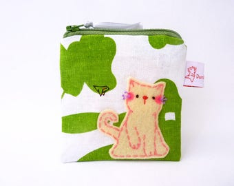 Cat coin purse floral linen pouch purse wallet green leaf cat lover gift for her stocking stuffer zipper wallet for women small change purse