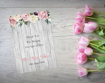 Personalised Wedding Thank You Cards with Matching Envelopes Pack Of 10 TY80