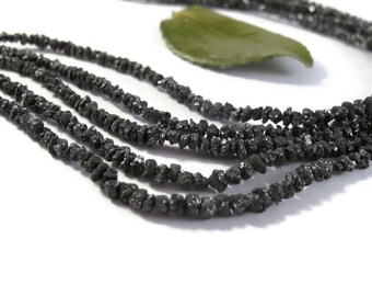 Rough Black Diamond Nuggets, 7.5 Inches of Raw Diamond Beads, 1.5mm - 4mm Diamond Beads, Drilled Bead, Jewelry Supplies (S-Di4)