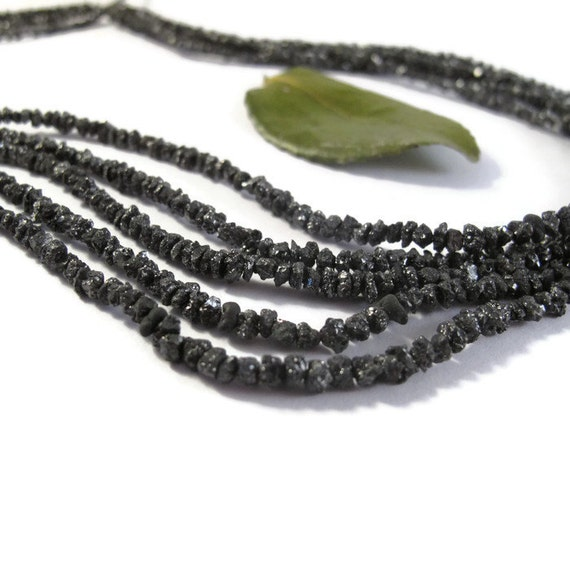 Rough Black Diamond Nuggets, 15 Inches of Raw Diamond Beads, 1.5mm - 4mm, Drilled Bead, Jewelry Supplies (S-Di4)