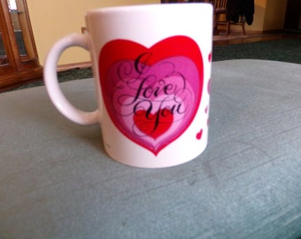 "Vintage Bright Ideas ""I Love You"" Coffee mug, Valentines Mug, Hearts Mug, Vintage Valentine's Coffee Mug, gift for her"