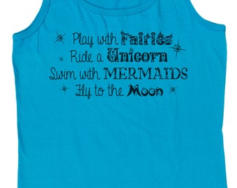Ladies Play With Fairies Fly To The Moon Loose Fit Tank Top