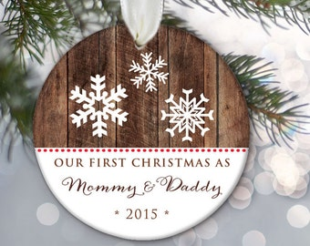 New Parents Ornament Our first Christmas as Mommy & Daddy Personalized Christmas Ornament Family Ornament Snowflake Christmas Gift OR314