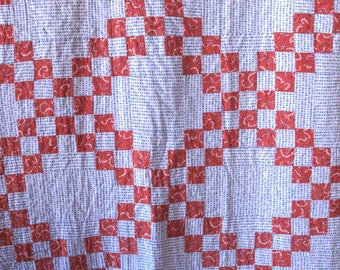 Vintage 1940's Block Patchwork Quilt 86 x 69 Full Size Retro Cottage Shabby Romantic Country Farmhouse Mid Century Modern Red Blue White