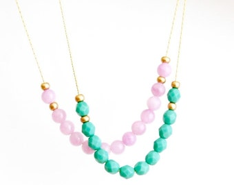 Mothers Day Gift - Delicate Beaded Necklace - Gold Plated Chain - Glass Beads - Choose Your Color - Spring Fashion - Girlfriend Gift