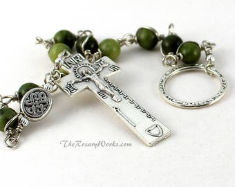 Irish Penal Rosary Beads Green Connemara Marble Celtic Knot An Paidrin Beag Single Decade Chaplet Wire Wrapped Unbreakable Traditional